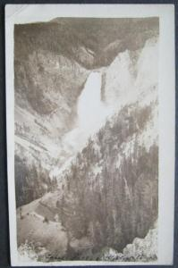 Unidentified Falls Yellowstone National Park 1923 RPPC