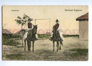 172284 HUNGARY shepherd Regards Bugacrol Vintage postcard