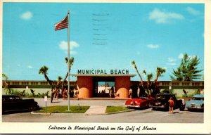 Florida St Petersburg Beach Entrance To Municipal Beach 1962