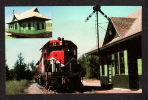 ME Bangor & Aroostook Railroad Train Station Oakland Maine RR Postcard BAR PC