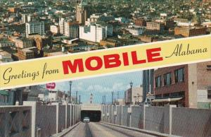 Alabama Greetings From Mobile Showing Downtown Business Section & Bankhea...