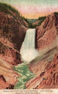 Yellowstone Park, WY, Great Falls of the Yellowstone, Vintage Postcard g8226