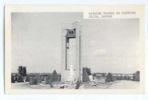W/B View of Singing Towers in Cemetery Ellis Kansas KS