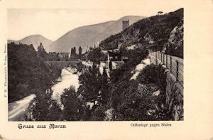 Meran Italy Greetings Birdseye View Bridge And City Antique Postcard K13113