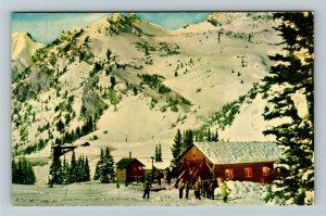 Alta UT- Utah, Wasatch Mountains, Chair Lift, Snow, Cabin, Chrome Postcard