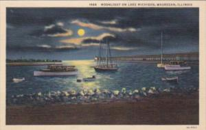 Illinois Waukegan Moonlight On Lake Michigan 1939 Curteich