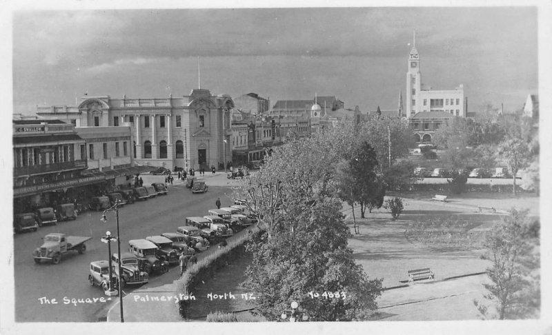 RPPC The Square - Palmerston North, New Zealand 1952 Vintage Postcard