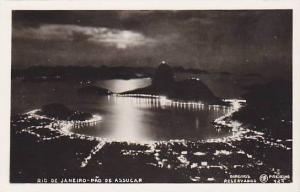 RP; Aerial View at night of Pao de Assucar, Rio de Janeiro, Brazil, 10-20s