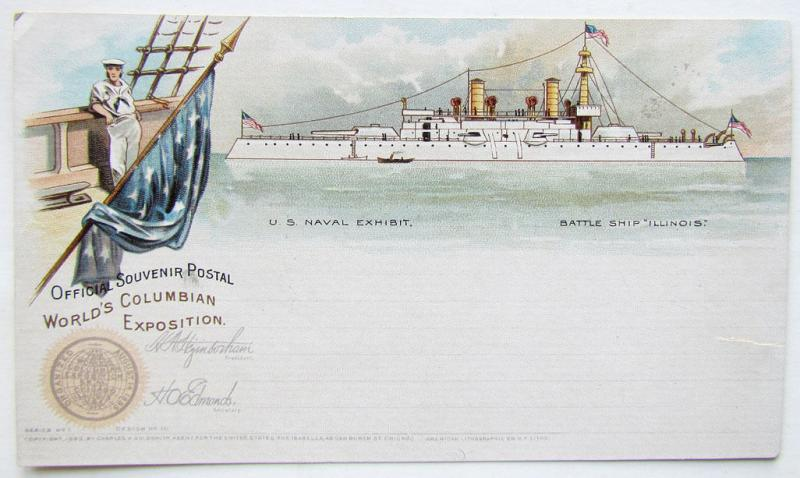 1893 ANTIQUE POSTCARD WORLD'S COLUMBIAN EXPOSITION BATTLE SHIP ILLINOIS
