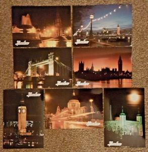 Set of 7 High Quality Glossy Postcards of Famous London Landmarks NEW