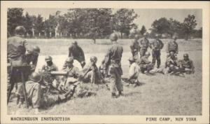 Pine Camp NY c1940s WWII Era Postcard MACHINE GUN INSTRUCTION