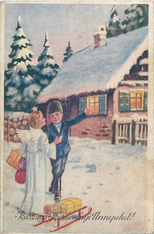 Hungary 1940s Christmas winter fantasy angel sledge gifts