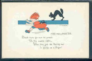 pc10381 postcard Hallowe'en Halloween E. Weaver Black Cat MOBSC