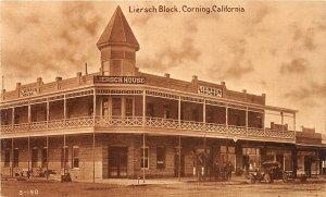 G79/ Corning California Postcard c1920s Liersch Block House Hotel