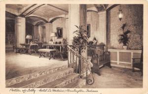 Huntington Indiana~Hotel La Fontaine-Lobby View~Portraits on Wall~1941 Postcard
