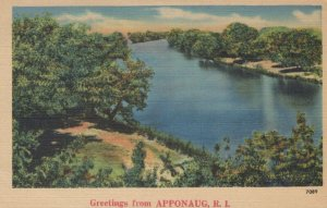 Greetings from APPONAUG ~ NYC Quality Colored Landscape Linen Postcard