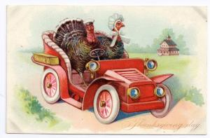 Tuck Dressed Turkeys Driving Car Vintage Embossed Thanksgiving Postcard
