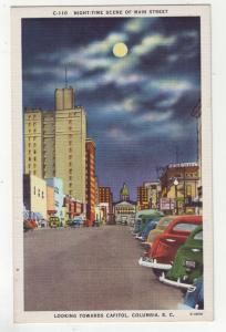 P1146 vintage postcard main street scene cars etc columbia south carolina