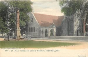 Stockbridge MA~SUPER Handcolored: St. Paul's Church and Soldiers Monument~1905