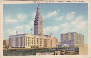 New U S Post Office And Terminal Tower Cleveland Ohio 1954