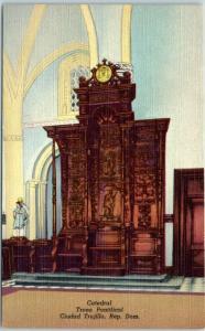 Ciudad Trujillo Dominican Republic Postcard Catedral, Trono Pontifical Linen