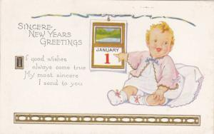 Sincere New Year Greetings, Blond Baby Pointing to Calendar Showing January 1...