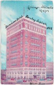 Fort Dearborn Hotel, Chicago, Illinois, Antique 1917 Postcard