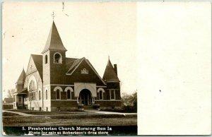 MORNING SUN, Iowa RPPC Real Photo Postcard Presbyterian Church 1908 Cancel