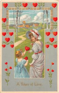 F12/ Valentine's Day Love Holiday Postcard c1910 Gold Heart Border Woman 3