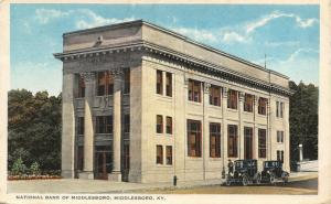 Middleboro KY~Tall, Fancy Columns on Long, Thin National Bank~c1915 Vintage Cars