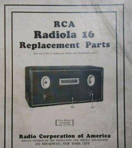 RCA Radiola 16 Replacement Parts Pamphlet 1927 Vintage Radio 4 Sided Ephemera