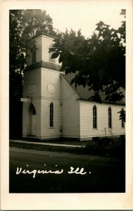 Vtg Vero Foto Cartolina RPPC Virginia Illinois Battista Chiesa Street Vista ~