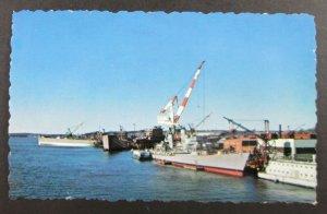 Bath Iron Works, Bath Maine ME Postcard - Battle Ships, Crane (F5)