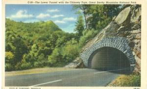 The Lower Tunnel with the Chimney Tops, Great Smoky Mount...