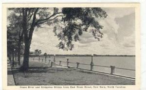 Neuse River and Bridgeton Bridge from East Front Street, New Bern, North Caro...