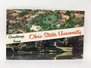 1964 Ohio State University Greetings from Postcard Split View Aerial