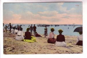 Many People in Victorian Dress Sitting on Revere Beach Massachusetts