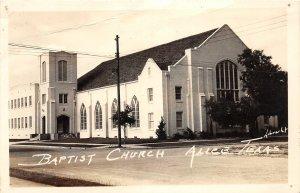 G22/ Alice Texas RPPC Postcard 1945 Baptist Church Building Real Photo