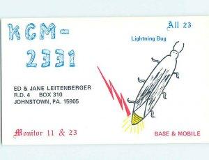 Pre-1980 RADIO CARD - CB HAM OR QSL Johnstown Pennsylvania PA AH1400