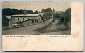 Great Bend New York~Dirt Road Past Paper Mill~c1910 B&W Knapp & Pressaw Postcard