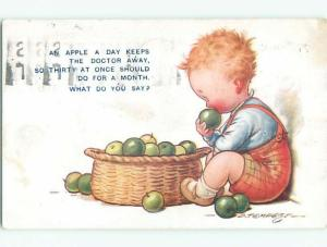 Bamforth comic signed CHILD WITH AN APPLE A DAY OR THIRTY FOR A MONTH k8247
