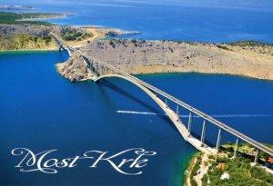 CROATIA: AERIAL VIEW OF KRK BRIDGE & ISLAND