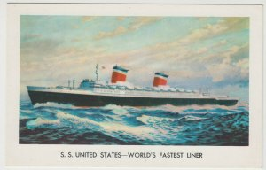Shipping; United States Lines SS United States PPC, c 1950's, Unposted