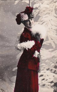 RP: Woman wearing Red Velvet Outfit, White Boa, Snowfall, PU-1908