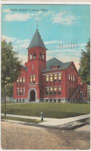 Old LISBON Ohio Postcard Public School Columbiana County Leetonia