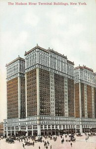 The Hudson River Terminal Buildings, New York City, Early Postcard, Unused