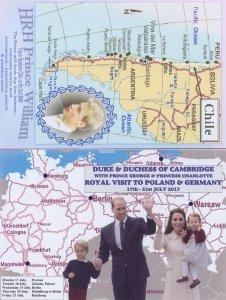Duke Duchess Of Cambridge 2x Chile Poland Germany Map Postcard s