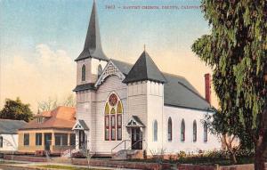 Colton California~Baptist Church~House Next Door~Pepper Tree~1910 Postcard