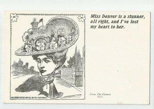 Antique Postcard ~ MISS DENVER HAT  ~  Denver Post City of Lights Clean Streets