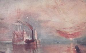 The Fighting Temeraire Shipping Military Naval Bombardment Artist Old Postcard